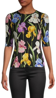 Dolce & Gabbana Floral Silk Elbow-Sleeve Top