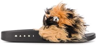 Marni Flat Faux-Fur Slippers