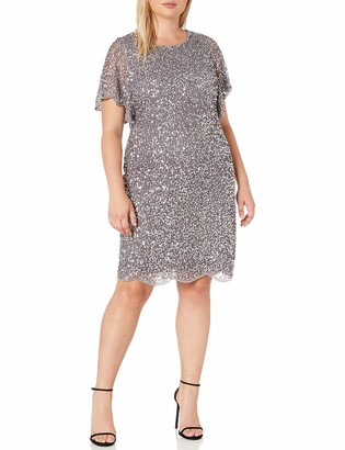 Adrianna Papell Women's Plus Size Sequin Beaded Cocktail Dress with Flutter Sleeves