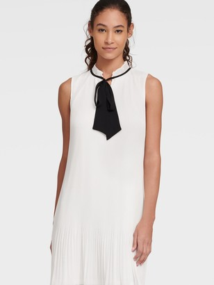 DKNY Women's Sleeveless Tie Neck Pleated Shift Dress - Cream/Black - Size 0