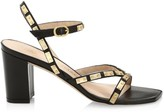 Stuart Weitzman Katalina Studded Block-Heel Leather Sandals