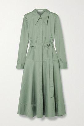Tibi Belted Cotton-poplin Midi Shirt Dress - Gray green