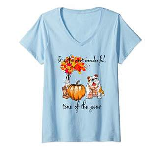 Womens Happy Bulldog Dog Mom - It's the Most Wonderful Time Of Year V-Neck T-Shirt