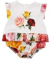 Dolce & Gabbana Multi-Rose Print Bubble Bodysuit, Size 3-18 Months