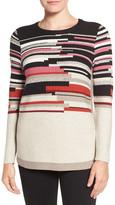 Nic+Zoe Tonal Tides Stripe Side Zip Blouse (Petite)