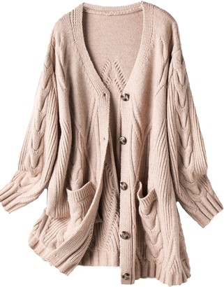 Goodnight Macaroon 'Ruby' Pattern Knit V-Neck Button Down Mid-length Cardigan with Pockets (2 Colors)