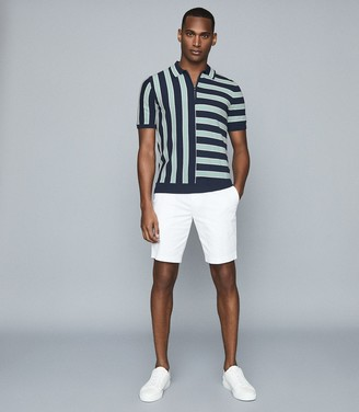 Reiss FRENCH STRIPED ZIP NECK POLO SHIRT Navy