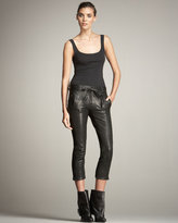 Cropped Leather Trousers