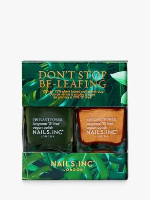 Nails Inc Don't Stop Be-Leafing Nail Polish Duo Kit, 2 x 14ml