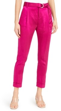 INC International Concepts Inc Satin Belted Ankle Pants, Created for Macy's