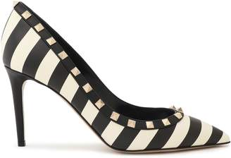 Valentino Garavani Studded Striped Leather Pumps