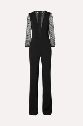 ADAM by Adam Lippes Stretch-crepe And Point D'esprit Jumpsuit - Black
