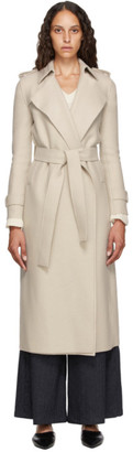 Harris Wharf London Beige Pressed Virgin Wool Trench Coat