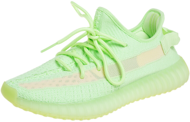 Yeezy x adidas Green Knit Fabric Boost 350 V2 Glow Low Top Sneakers Size 43 1/3
