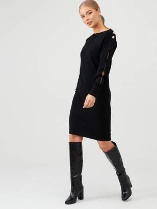 Very Button Detail Long Sleeve Dress - Black