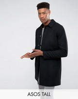 Asos TALL Wool Mix Trench Coat In Black