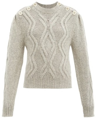 Isabel Marant Devlyn Cable-knitted Alpaca-blend Sweater - Light Grey