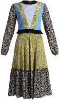 MSGM Floral-print contrast-panel long silk dress