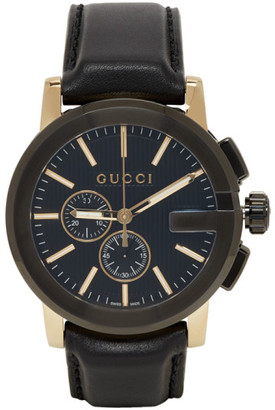 Gucci Black and Gold G-Chrono Watch