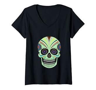 Womens Spooky Halloween Skull V-Neck T-Shirt