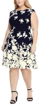 London Times Plus Size Scuba-Crepe Floral-Print Fit & Flare Dress