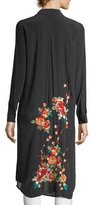 Johnny Was Cherry Floral Embroidered Long Tunic, Blue, Plus Size