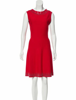 Alaia Embellished Fit & Flare Knee-Length Dress w/ Tags Red