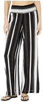 Lauren Ralph Lauren Stripe Cover-Ups Rayon Stripe Smocked Pants (Black/White) Women's Swimwear