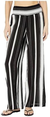 Lauren Ralph Lauren Stripe Cover-Ups Rayon Stripe Smocked Pants (Black/White) Women's Swimwear