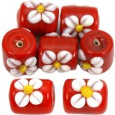 Generic 30 Grams Red Flower Lampwork Glass Tube Beads Approx 7