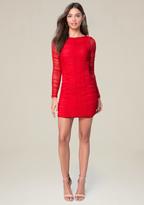 Bebe Mesh Long Sleeve Dress