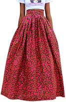 SG Women African Floral Printed Casual High Waist Flared A Line Maxi Skirt