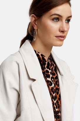 Topshop Womens Considered White Oversized Denim Blazer Jacket - White Denim