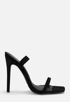 Missguided Black Faux Suede Elastic Strap Barely There Heels
