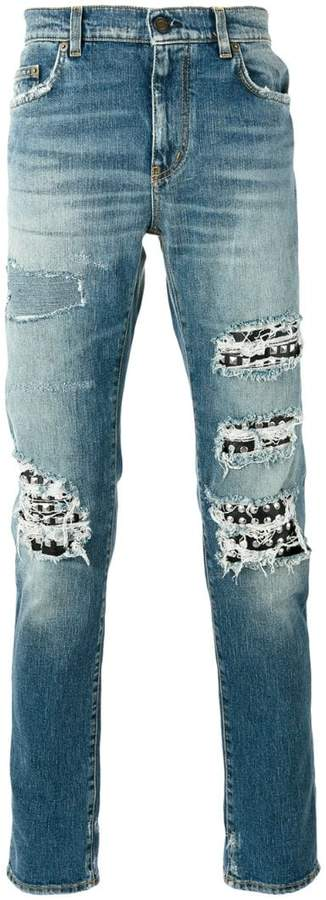Saint Laurent studded distressed jeans