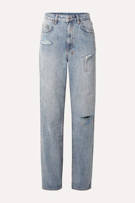 Ksubi + Kendall Jenner Playback Distressed High-rise Straight-leg Jeans - Light denim