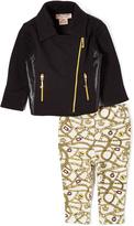 Juicy Couture Black Status Moto Jacket & Leggings - Infant & Girls