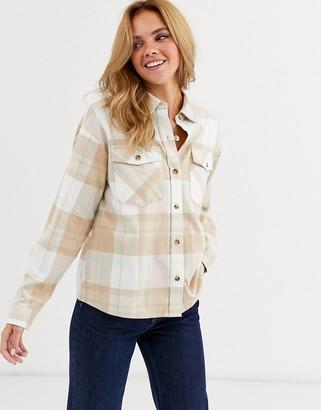 Miss Selfridge boxy shirt in cream check