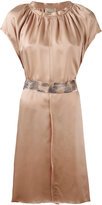 Nude pleated trim belted dress