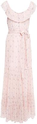 LoveShackFancy Joanne Ruffled Metallic Fil Coupe Floral-print Georgette Maxi Dress