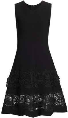 Carolina Herrera Sleeveless Lace-Hem Fit-&-Flare Dress