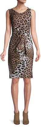 Roberto Cavalli Leopard-Print Sleeveless Sheath Dress