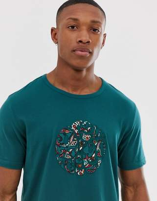 Pretty Green paisley applique logo t-shirt in teal-Blue
