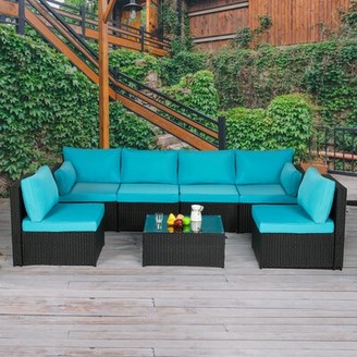 Ebern Designs Hillburn 7 Piece Rattan Sectional Seating Group with Cushions