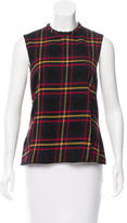 Hache Plaid Ruffle-Accented Top
