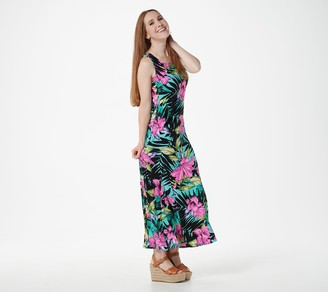 Women With Control Attitudes by Renee Petite Como Jersey Printed Godet Maxi Dress