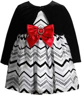 Youngland Baby Girl Velvet Shrug & Glitter Chevron Dress Set