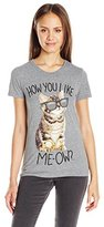 Goodie Two Sleeves Juniors' How You Like Me-Ow Cat Graphic T-Shirt