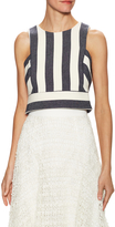 Milly Women's Striped Button Back Cropped Shell