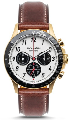 Jack Mason Camber Racing Chronograph Leather Strap Watch, 42mm